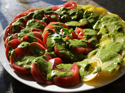 Heirloom Tomatoes with Spicy Cilantro-Mission Pesto