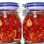 Spicy Sweet Italian Peppers Pickled in Oregano White Balsamic