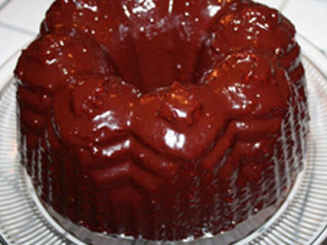 Chocolate-Raspberry Balsamic Glazed Olive Oil Bundt Cake