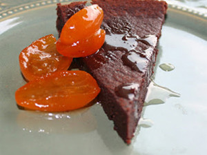 Almost Flourless Dark Chocolate Blood Orange Olive Oil Cake with Vanilla Bean Candied Kumquats