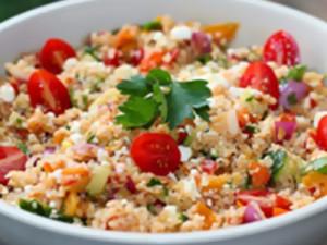 No Cook Bulgur Salad with Mediterranean Vegetables & Lemony-Dill Vinaigrette