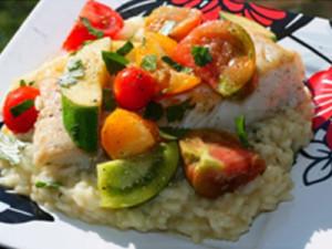 Pan Seared Fresh Halibut with Warm Marinated Heirloom Tomato & Baby Squash Salad
