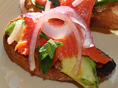 Wild Smoked Salmon & Avocado Crostini with Arbequina EVOO