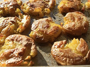 """Smashed"" Baby Yukon Gold Potatoes With Garlic Olive Oil"